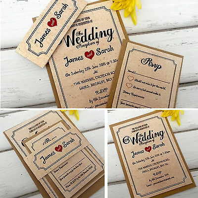 Personalised Wedding Invitations & Evening Invites with Envelopes Vintage