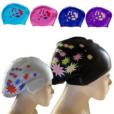 Best Waterproof Silicone Swim Cap Hat For Ladies Women Long Hair With Ear Cup