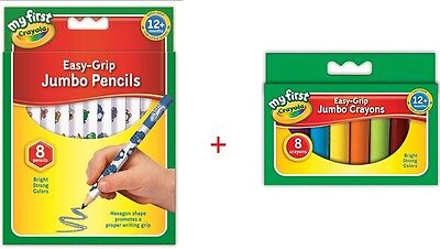 My First Crayola Bundles Easy Grip Jumbo Decorated Pencils and Crayons - 8 Pack