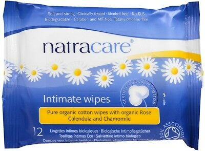 Organic Cotton Intimate Wipes, Natracare, 12 wipes