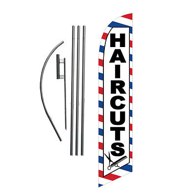 NEW Haircuts 15' Feather Banner Swooper Flag Kit with pole+spike barbor shop
