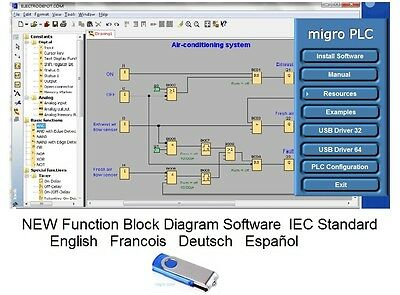 PLC Programming Software for Programmable Logic Controllers Function Block USBFL