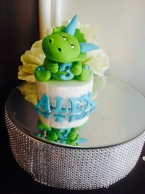 Edible Dinosaur, Age & Name Fondant Cake toppers Stagasaurus T Rex Triceratops