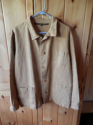 Peasant French farmers Jacket Chores Caramel heavy linen never worn