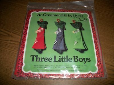 """***New***VINTAGE ORNAMENT KIT """"THREE LITTLE BOYS"""" 1977 BY YOURS TRULY"""