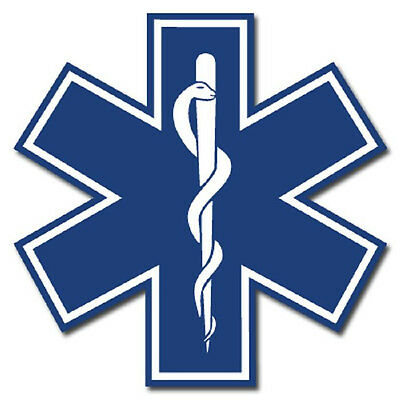 """Blue Star of Life 2"""" Die Cut Reflective Emergency Medical EMT Decal with Border"""
