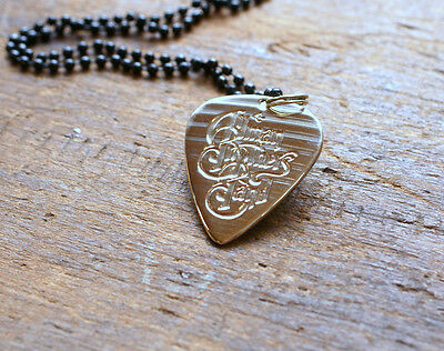 Handmade Guitar Pick Necklace - Made from Drum Cymbal - Allman Brothers Band