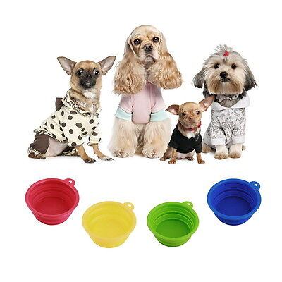 Pet Dog Cat Portable Silicone Collapsible Travel Feed Bowl Water Dish Feeder E5