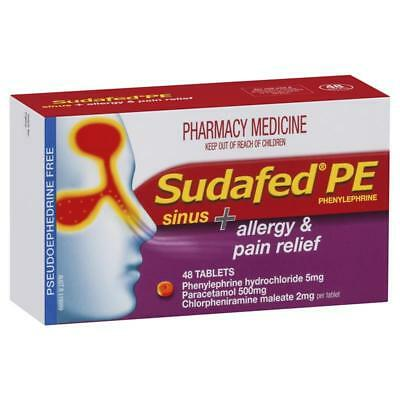 ツ Sudafed Pe Sinus + Allergy & Pain Relief 48 Tablets Blocked Runny Nose