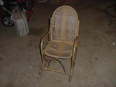 VINTAGE WICKER CANE CHILDS ROCKING CHAIR 30s 40s 50s
