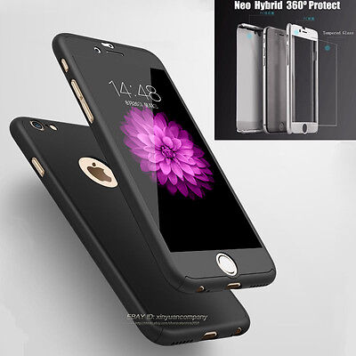 New Hybrid 360° Hard Ultra Thin Case + Tempered Glass Cover For Iphone 6S 7 Plus