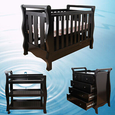 Walnut New Zealand Pine 3-in-1 Baby Sleigh Cot Change Table Dresser Package
