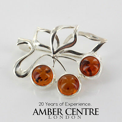 Baltic Amber Brooch 925 Silver Handmade Bd0025 Rrp£29!!!