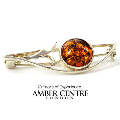 Baltic Amber Brooch 925 Silver Handmade - Bd0024 Rrp£30!!!