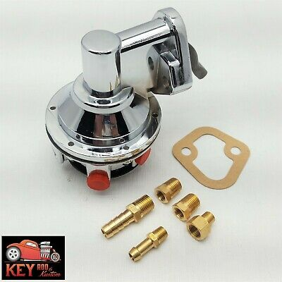 SBC Chevy Replacement Chrome Mechanical Fuel Pump 305 350 400 W// Fittings /& hose