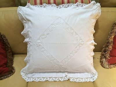 Antique Hand Made Cluny Lace Embroidered European Continental Pillow Sham Case