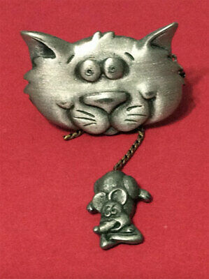 Cat Holding Mouse By The Tail Pin Jonette Original!