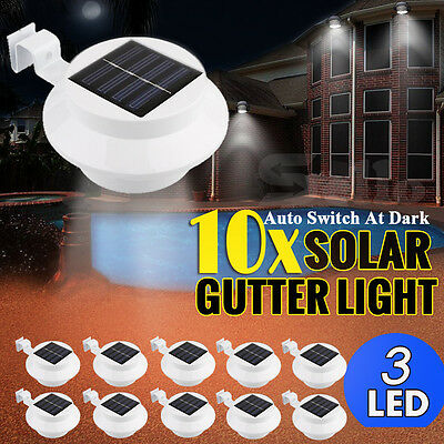 10X 3-LED Solar Fence Gutter Outdoor Garden Light
