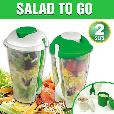 2pcs SALAD TO GO Cup Container Dressing Cup Forks BBQ Lunch Picnic Spork New