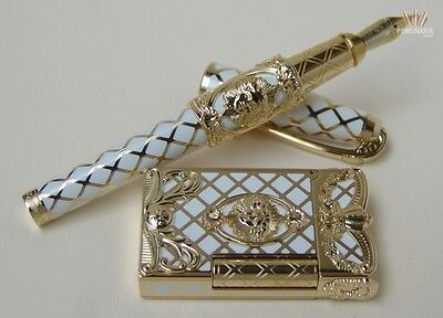 S.t Dupont Limited Olympio Versailles White Lacquer Fountain Pen And Lighter Set