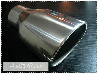 3'' Inlet Stainless Steel Oval Rolled Angle Cut Exhaust Muffler Tip 8.3'' Long