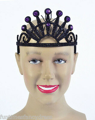 Halloween Black Spider Tiara & Purple Gems Evil Queen Witch Vampire Fancy Dress