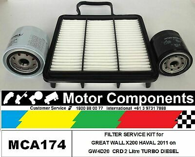 GREAT WALL X200 HAVAL 5 GW4D20 2L CRD TURBO DIESEL 2011 on FILTER SERVICE KIT