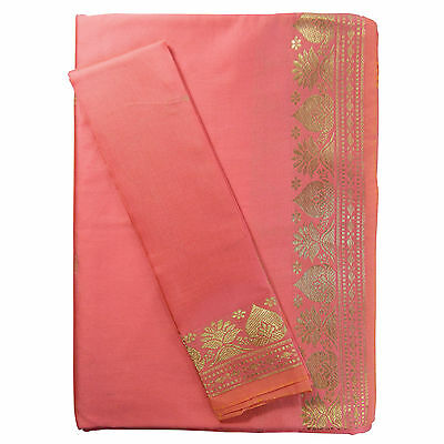 Sari Rose Brocat Doré Robe traditionnelle indienne + Instructions + Bindis