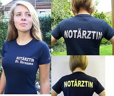 NOTÄRZTIN + Ihr Name, T-Shirt in marineblau, Text in 3 Farb-Varianten,S bis XXL
