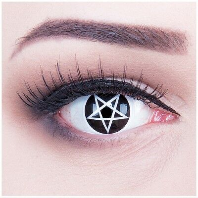 Coloured Contact Lenses white black Pentagram Contacts Color Halloween Carneval