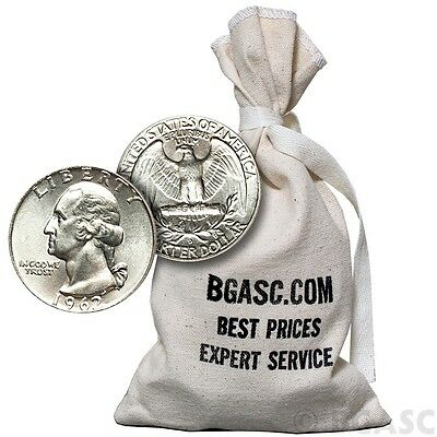 90% Silver Coins $100 Face Value Bag in 1964-Prior Junk Silver Quarters