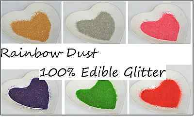Edible Glitter Rainbow Dust Decanted Quantity Cup Cake Decorating Sparkle