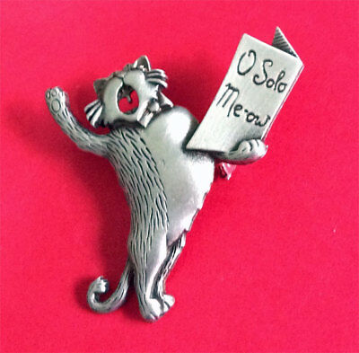 O Solo Meow Singing Cat Pewter Brooch Pin J0Nette Original!