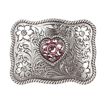 Nocona Western Womens Belt Buckle Girls Heart Youth Pink Silver 37588