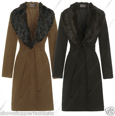 New Womens Wool Blend Winter Coat Detachable Fur Collar Long Jacket Size 8 to 16