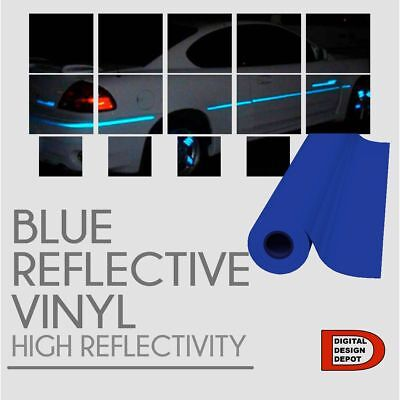 "Blue Reflective Vinyl Adhesive Cutter Sign Hight Reflectivity 24"" x 10 FT"