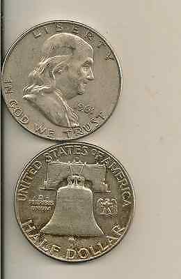 Silver Franklin silver half dollar lot of 2 (you get all 2 coins) $1.00 face