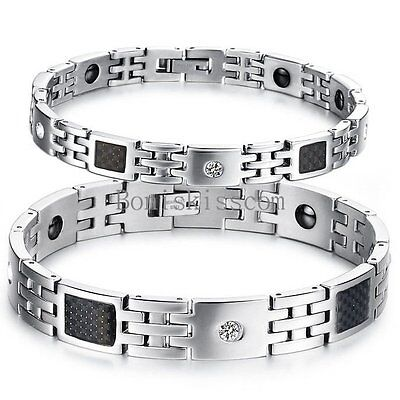 Men's Women's Bracelet Black Carbon Fiber Magnetic Therapy Elements Magnetic