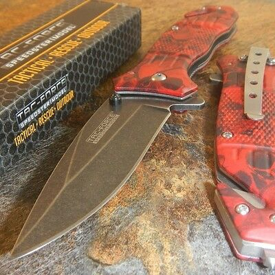 TAC-FORCE Assisted Opening RED SKULL CAMO Belt Cutter Glass Breaker Rescue Knife