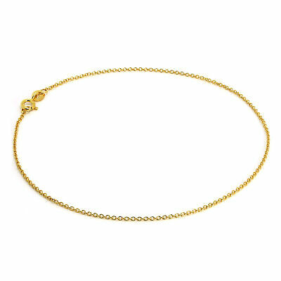 "18ct Yellow Gold Dipped 925 Sterling Silver Fine Trace Chain Anklet 9.5 "" Inch"