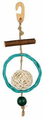 """Natural Budgie Canary Bird Toy Wicker & Wood with Ball on Sisal Rope 22cm (8.5"""")"""