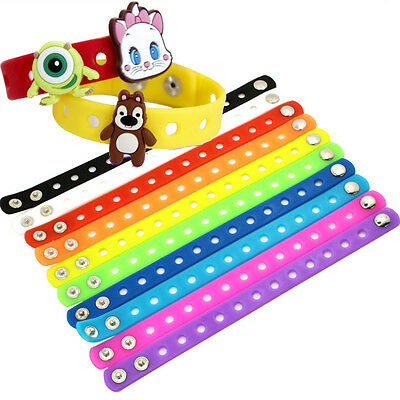 Lots 1/10Pcs 21cm Wristbands Silicone Bracelets For Kid Party Gift/Shoe Charms