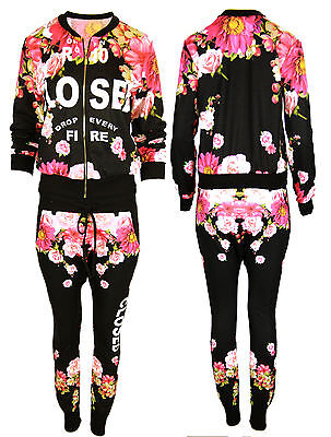 A25 New Womens Ladies Poppy Floral Closed Print Jogger Full Length Tracksuit  .