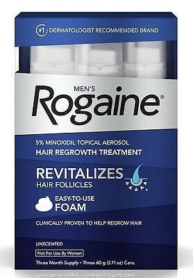 Men's Rogaine Unscented Foam Minoxidil 3 Month Supply Hair Regrowth Treatment
