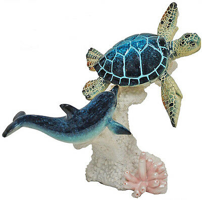 "8L"" Glazed Resin Blue Sea Turtle and Dolphin on Coral YX3914"