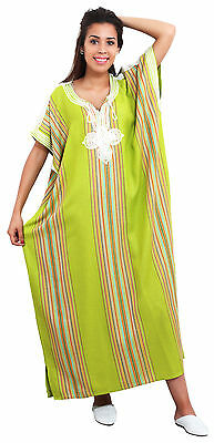 Moroccan Kaftan Caftan Beach Cover Up Summer Dress Casual Linen Sm-Lg Lime