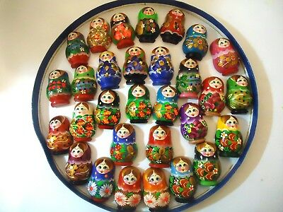 Lot of 5 Hand Painted Russian Nesting Doll MATRYOSHKA Souvenir Fridge Magnets