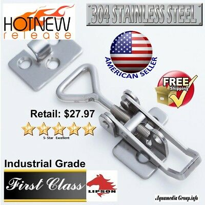 304 Polished Stainless Steel Toggle Snap Latch / Industrial Grade (Adjustable)