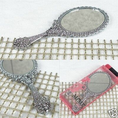 Decorative Vintage Style Oval Round Vanity Make up Hand Held Mirror Small Silver