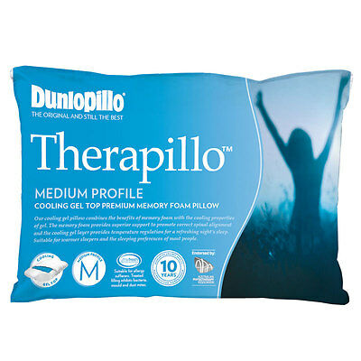 Dunlopillo Therapillo PREMIUM MEMORY FOAM Cooling Gel Top Medium Profile Pillow
